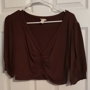Crop Top Short Sleeve Knit Sweater